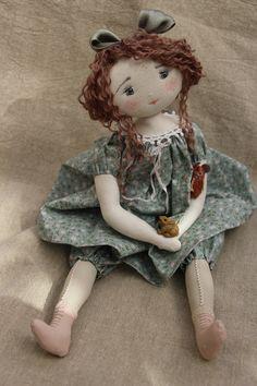 Brunette handmade doll