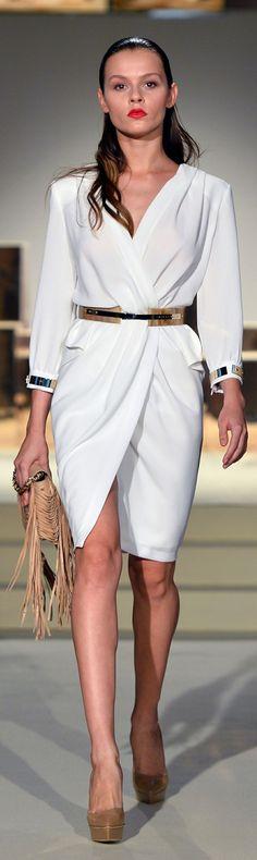 Elegant white spring dress - Elisabetta Franchi SS 2014