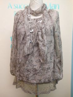 STUNNING LAGENLOOK FLORAL SILK LAYERING TUNIC & SCARF SET FITS UK SIZES 10-16