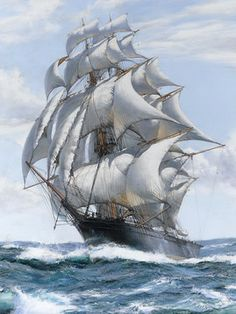 An incredible, dynamic maritime painting by British artist Montague Dawson. Montague Dawson, Moby Dick, Bateau Pirate, Old Sailing Ships, Ship Paintings, Boat Art, Boat Painting, Nautical Art, Ship Art