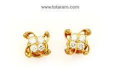 22K Gold Diamond Earrings - DER905 - Indian Jewelry from Totaram Jewelers