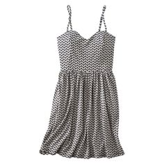 white/navy chevron print skater dress, with a bodice that looks big enough to accomodate a larger bust