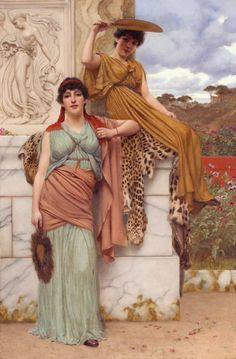 Waiting for the Procession: 1890 by John William Godward (Private Collection - Location Unknown) Pre-Raphaelite John William Godward, John William Waterhouse, Lawrence Alma Tadema, Pre Raphaelite Paintings, Portrait Photos, Dante Gabriel Rossetti, Classical Art, Beautiful Paintings, Canvas Art Prints