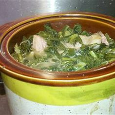 Slow Cooker Collard Greens - a Southern favorite  cooked all day with ham shanks and pickled jalapeno. Yum!