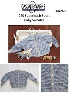 Striped Baby Sweater in Cascade 220 Superwash Sport - DK268