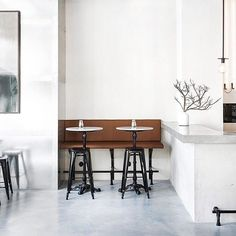"""""""Beautifully amalgamating a minimal Scandinavian dining experience with a raw, industrial aesthetic. Usine Restaurant, Stockholm, by award-winning…"""" Cafe Bar, Cafe Restaurant, Restaurant Design, Stockholm, Modern Oil Painting, Black And White Wall Art, Interior Decorating, Interior Design, Modern Wall Art"""