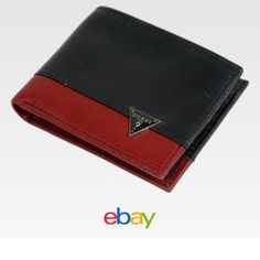 8446841f42e8c Guess Men's Leather Double Billfold Credit Card Wallet Black/Red 31GU13X043