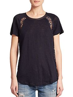 Rebecca Taylor Lace-Detail Linen Tee