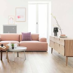 Modern Scandinavian Furniture and Decor – – Einrichtungsstil Scandinavian Furniture, Scandinavian Design, Pink Couch, Muuto, Sofa Home, Blog Deco, Pantone Color, Home Living Room, Home Decor Inspiration
