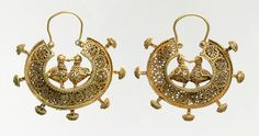 Earrings, 11th–12th century | Greater Iran | Gold wire and filigree
