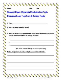 Thesis statement middle school worksheet