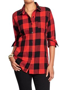 Old Navy Red Buffalo Plaid shirt in Med Tall or Med  Women's Plaid Flannel Boyfriend Shirts Product Image