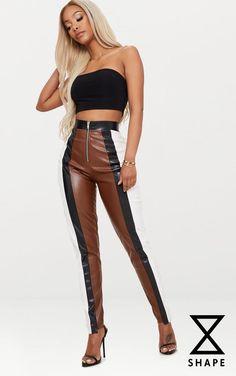 516484eb82 Shape Brown PU Panel Trousers Autumn Winter Fashion