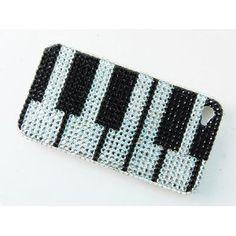 iPhone 4S 4 Piano Keyboard Keys Music Notes Solo Case Swarovski Crystal Element