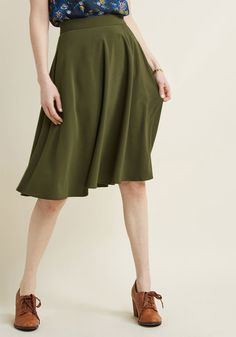 Just This Sway Midi Skirt in Olive