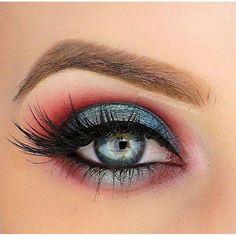 #EyeMakeupBlue Red Eye Makeup, Makeup Eye Looks, Eyeshadow Looks, Eyeshadow Makeup, Hair Makeup, Gel Eyeliner, Makeup Tips, Beauty Makeup, Makeup Ideas