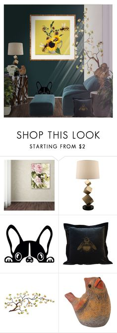 """BEE INSPIRED"" by suelb ❤ liked on Polyvore featuring interior, interiors, interior design, home, home decor, interior decorating, Trademark Fine Art, Timorous Beasties, changeitup and savethebees"