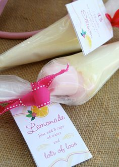 Party favor - Make your own pink lemonade. Love the ribbon & tag. Cute idea that is inexpensive.