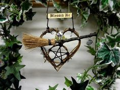 Handmade Witch Kitchen Pentacle  Besom Heart by PositivelyPagan, £8.25