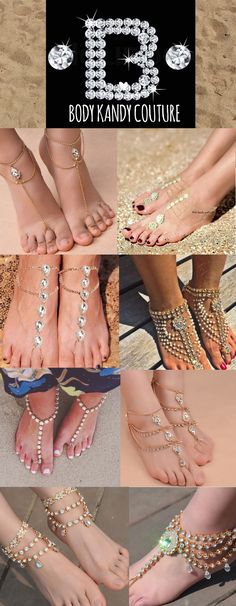 Beach Wedding Shoes. Inspiring barefoot sandal designs in gold. Check out our latest collection of beach wedding shoes. Take a look at this fabulous trend - barefoot sandals with pearls, beads and rhinestones by Body Kandy Couture. Gold Foot Jewelry boho beach