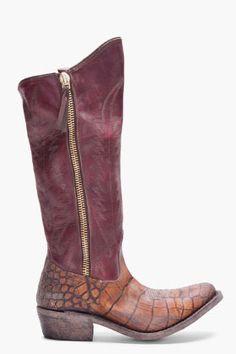 Golden Goose Maroon Calf High Zip Boots
