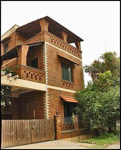 61 Ideas House Facade Design Brick Building For 2019 Brick Architecture, Vernacular Architecture, Brick Design, Facade Design, Brick Facade, Facade House, 1200 Sq Ft House, Indian Home Design, Village House Design