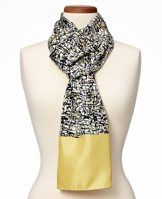 """Scribble Silk Scarf - Flaunting notable neutrals with a pop of color, this scribble print silk scarf flaunts creative lines and a luxurious texture for an irresistible pop art look. 24"""" x 72""""."""