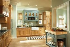 Embracing knotty pine with a splash of color- light walls