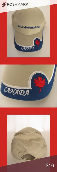 Canada Rocky Mountaineer Baseball Cap Beige NEW Canada Rocky Mountaineer baseball cap. This beige and blue hat is nicely embroidered with 'Rocky Mountaineer' 'Canada' and a red maple leaf. It's 100% cotton and has a Velcro adjustable back, one size fits all adults. Unisex - for men and women. New without tag!  180312-08-75-11 Avision Headwear Accessories Hats