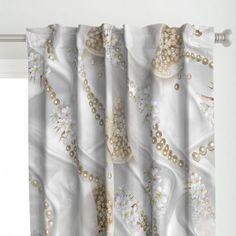 white silk & champagne pearls - Spoonflower Custom Shower Curtains, White Silk, Drapes Curtains, Custom Fabric, Spoonflower, Champagne, Pearls, Wallpaper, Etsy