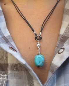 Leather Cord Necklace.Gemstone Necklace.Sterling Silver Necklace.Turquoise Pendant Necklace.Choker Necklace