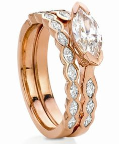 A great new look if you have a marquise cut diamond. Rose Gold Engagement Ring, Wedding Ring Bands, Wedding Jewelry, Rose Gold Jewelry, Diamond Jewelry, Diamond Rings, Diamond Wedding Sets, Marquise Diamond, Marquise Cut