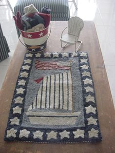 """Sailboat"" Hooked Rug, Design by Polly Minick."