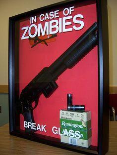 Zombie survival shadow box.. I'm definitely making this lol very cool