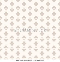 Vector geometric seamless pattern. Abstract monochrome background with curved shapes, rhombuses, feathers. Repeat texture in beige pastel colors, art deco style. Ornament design for decoration, fabric