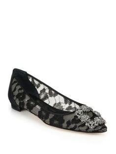 MANOLO BLAHNIK Crystal Lace & Satin Flats. #manoloblahnik #shoes #flats