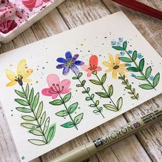 Just paint some blobs and then add in the details! (Or vi Simple floral doodles. Just paint some blobs and then add in the details! Watercolor Projects, Watercolor And Ink, Simple Watercolor Paintings, Floral Doodle, Art Lessons, Painting & Drawing, Art Projects, Card Making, Doodles