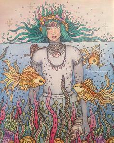 Sea creatures from Magisk Gryning. :) #magiskgryning #hannakarlzon #hannakarlzonmagiskgryning #magicaldawn #magicaldawncoloringbook #coloringbook #coloriage #målarbokförvuxna #jennychromosfinnished #polychromos