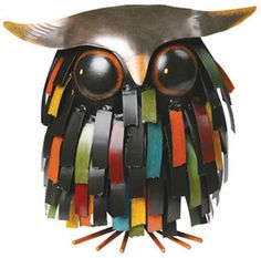 painted metal owl, recycled found metal - wireless