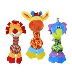 1 unid bebé juguete suave 22 cm Animal de la historieta Teether Rattle Squeaker BB Sounder para la educación temprana brinquedos juguetes