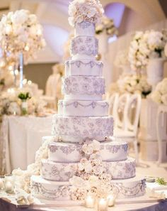 Amazing multi-tier, lace wedding cake.