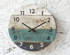 Round Clock. Reclaimed Wood wall clock. Pale sea by terrafirma79