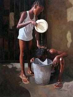 Meet Nigerian Oresegun Olumide, A World Class Painter To Ever Grace Planet Earth - How Africa Black Art Painting, Black Artwork, Music Painting, Black Love Art, Black Girl Art, Arte Black, Afrique Art, Black Art Pictures, Caribbean Art