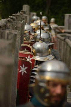 Siege. Legio XXI Rapax - historical reenactment of Roman legion.