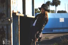 Look for Less :: Nikki Reed | teen fashion, outfit ideas, tv fashion, black booties, sweater waist, all black, date night outfit ideas, casual outfit ideas, black leather jacket, celeb style, black hat fedora, edgy, photography, street style