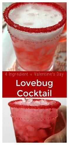 Lovebug Cocktail - A gorgeous and bright Valentine's Day cocktail! Made with just 3 simple ingredients, it's great to make for your lovebug!