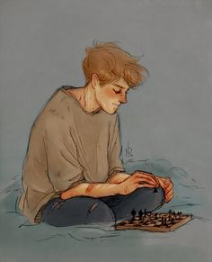 Remus Lupin playing chess by Natello
