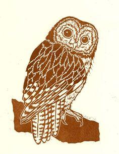 Tawny Owl - linocut - Marliese Richmond, Scotland U.K.