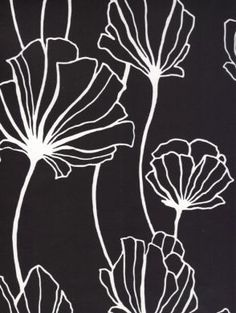 Black and White Contemporary Floral Wallpaper