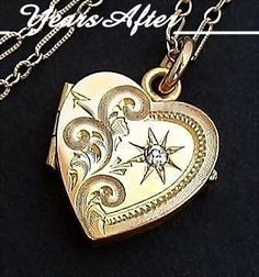 Antique Victorian LOCKET Heart Shape, Gold INSERTS, Celluloid Photo from yearsafter on Ruby Lane